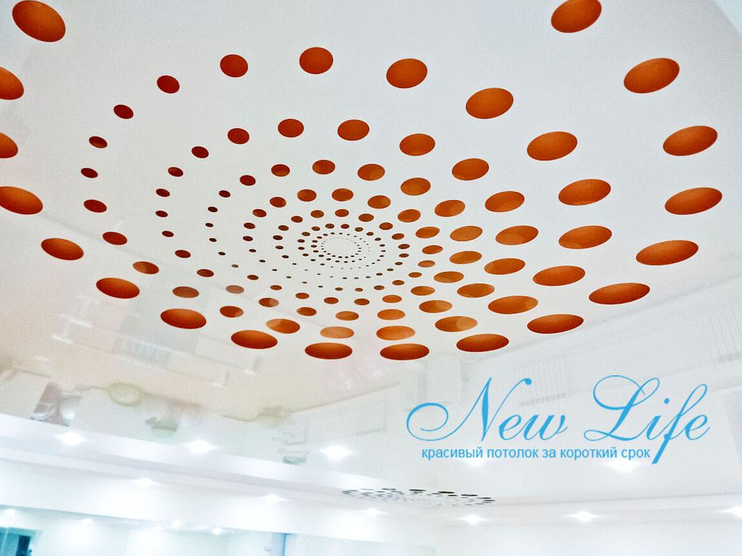 3D перфорация на лаковом потолке