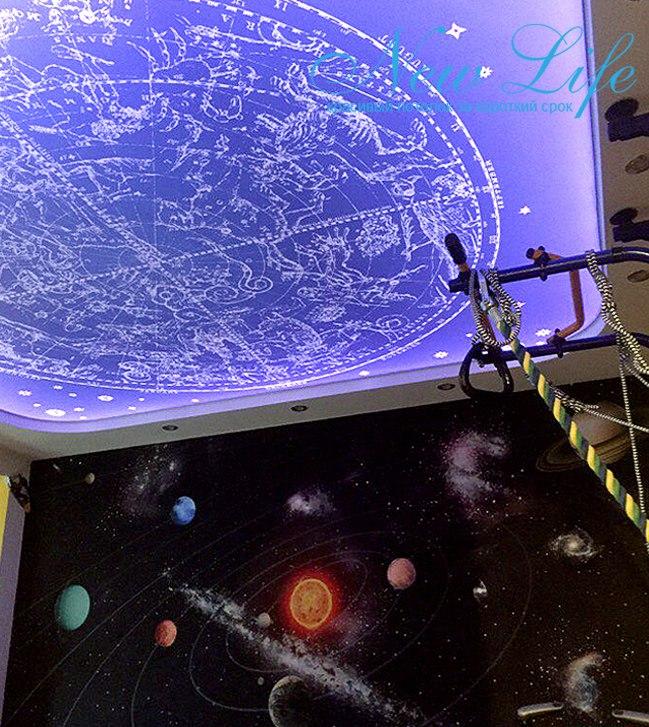 Арт печать на матовой фактуре, подсвеченная LED подсветкой потолка