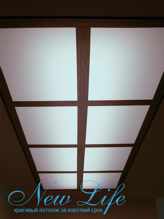 Потолок с арт печатью на опале, подсвеченный холодным светом