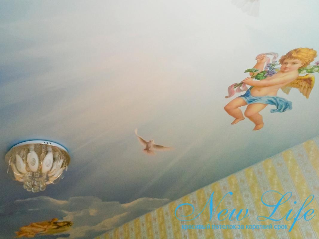 фрагмент потолка с арт печатью