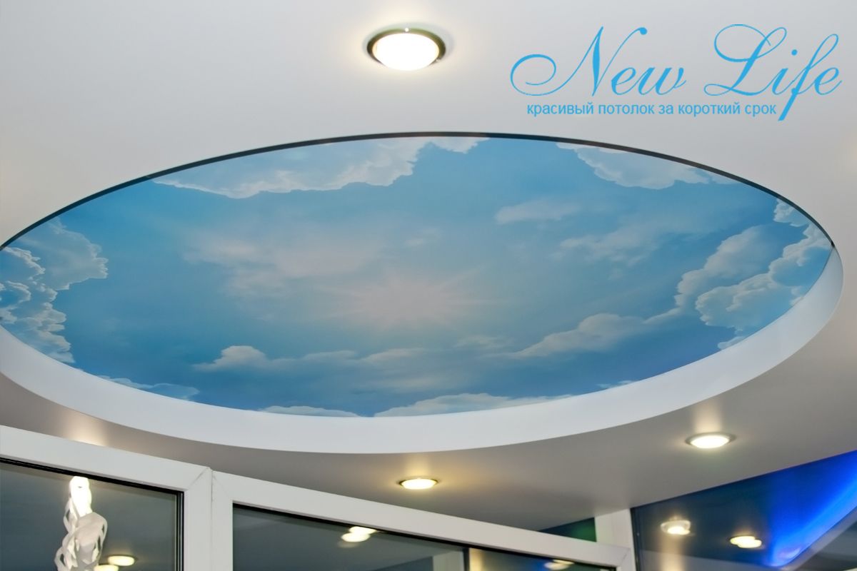 """Двухуровневый потолок с арт печатью """"Небо"""""""