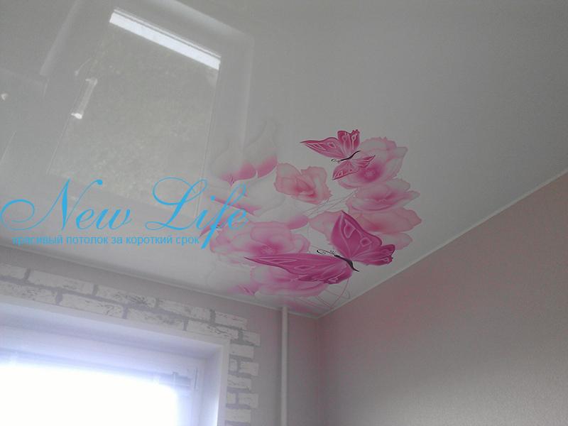Фотопечать на лаковом (глянцевом) натяжном потолке - бабочки 28