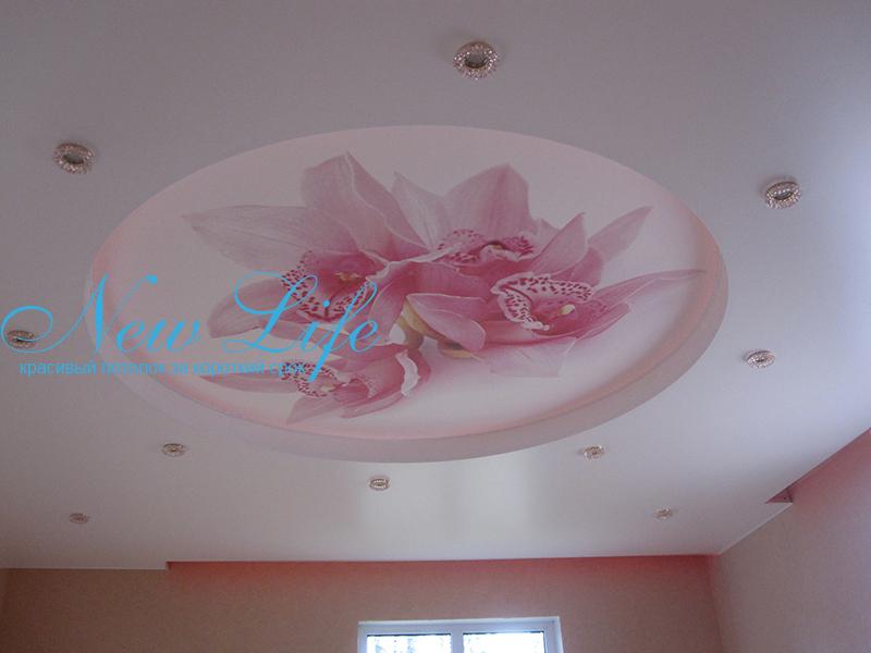 Фотопечать на натяжном потолке в составе двухуровневого потолка, фото из коллекции цветы
