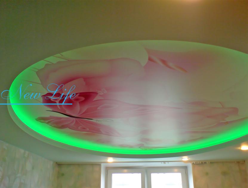 Фотопечать Бабочки на матовом натяжном потолке со светодиодной (LED) подсветкой в комнате рис. 40 из каталога Бабочки