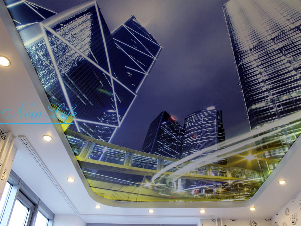 Фотопечать на натяжном потолке в составе двухуровневого в комнате - Ночной город рис.54 из каталога Город