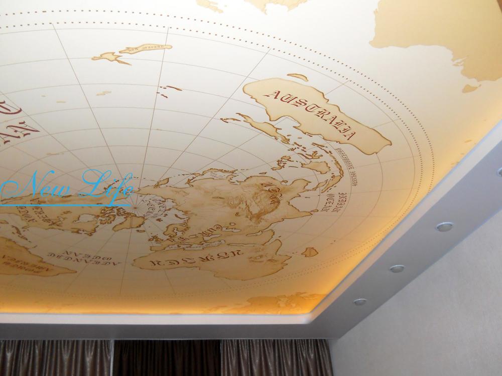 Фотопечать Антикварная Карта на матовом натяжном потолке с запотолочной светодиодной подсветкой
