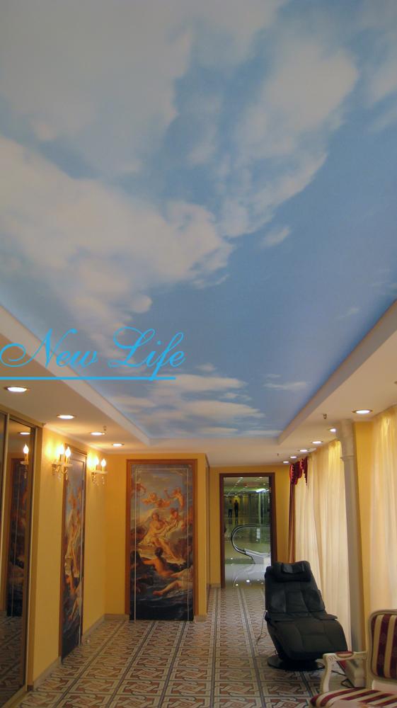 Фотопечать Небо на фактуре Опал Полупрозрачный с запотолочной подсветкой в Торговом Центре
