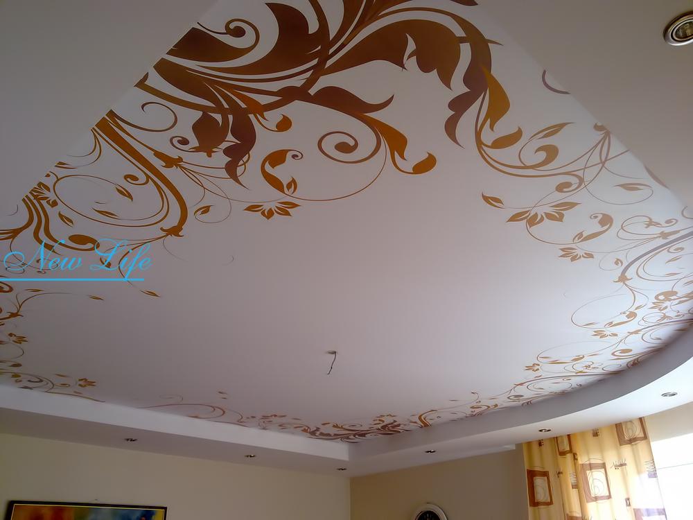 Фотопечать орнамент на матовом натяжном потолке в составе двухуровневого потолка