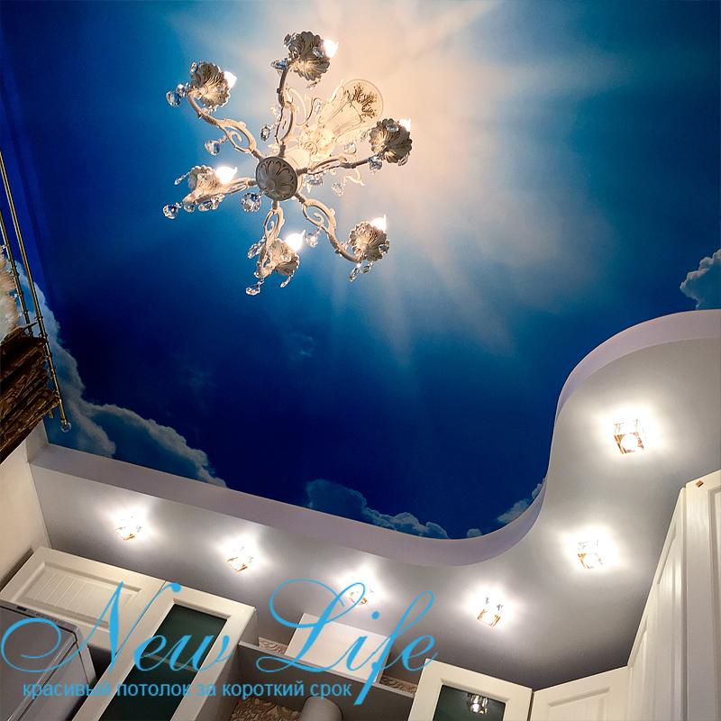 использование арт печати в двухуровневомом потолке