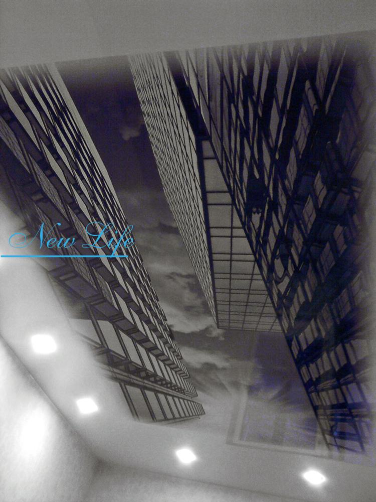 Фотопечать Город на лаковом натяжном потолке