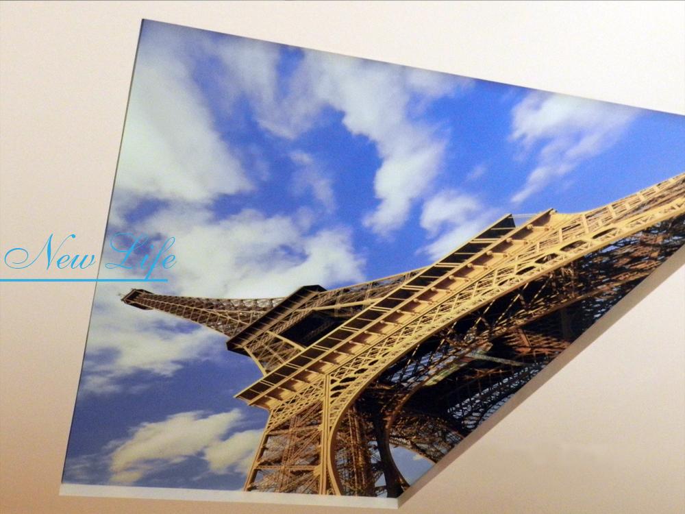 Фотопечать Эйфелева башня на матовом натяжном потолке
