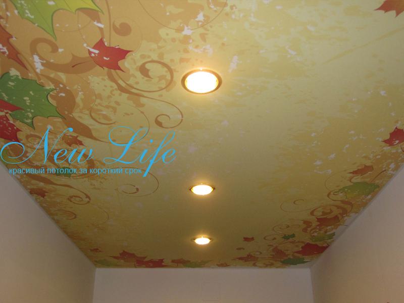 Фотопечать на матовом натяжном потолке - орнаменты в коридоре