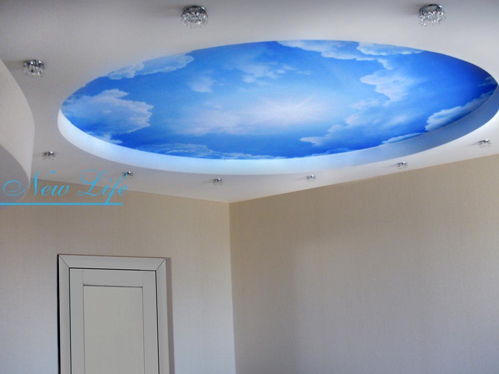 Фотопечать Небо на матовом натяжном потолке