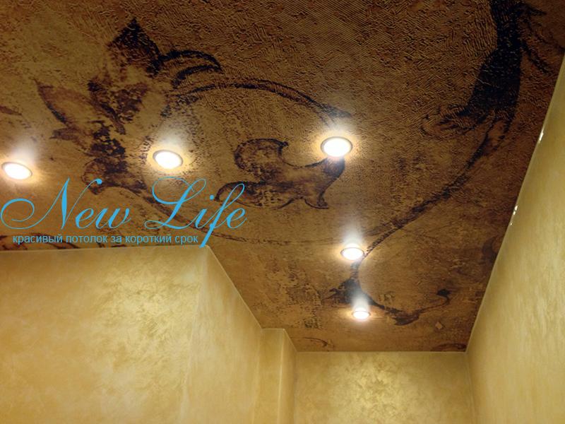 Фотопечать на матовом натяжном потолке - текстуры в коридоре