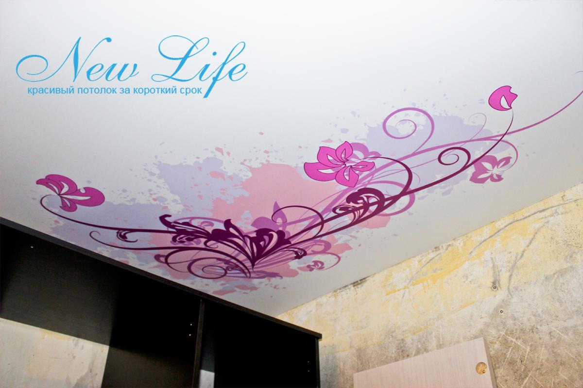 потолок с арт печатью на матовой фактуре