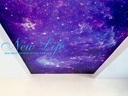 Потолок с арт печатью и звёздным небом