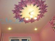 Натяжной потолок с фотопечатью в команте, фото - коллаж