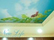 Коллаж, созданный дизайнером по заказу клиента, арт печать на матовом потолке