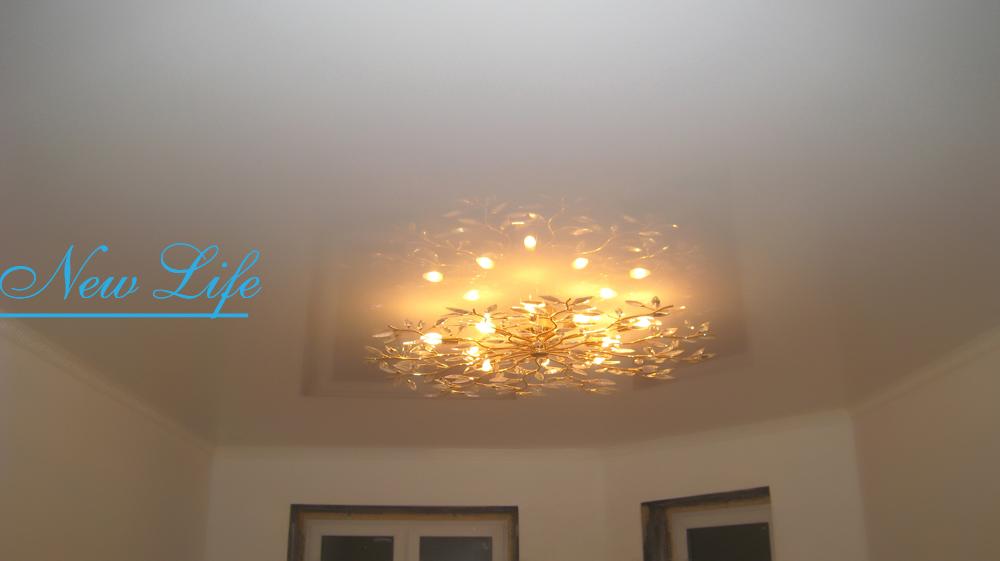 Натяжной потолок с одной люстрой фото