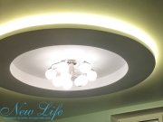 Матовый белый потолок в составе многоуровневого