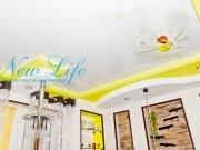 Двухуровневый натяжной потолок с арт печатью цветы 88  на лаковом полотне