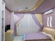 Двухуровневый натяжной потолок с цветовым решением фактур схожим с цветами интерьера