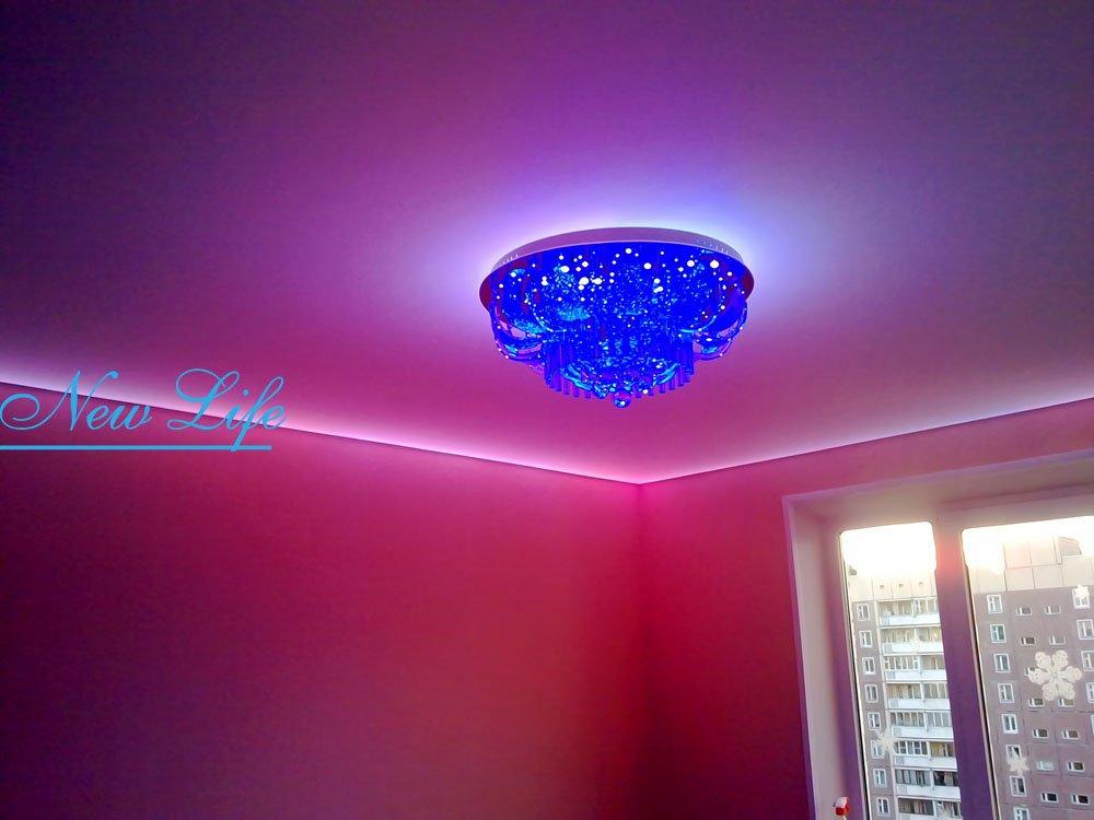 натяжной потолок со светодиодной подсветкой фото