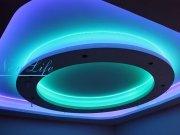 Светодиодная подсветка (LED) многоуровневого натяжного потолка в форме круга