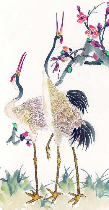Японские рисунки с цаплями