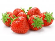red strawberry fruits isolated on white background