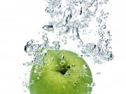 apple are dropped into water