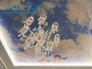 Натяжной потолок с арт-печатью (коллаж) и светодиодной подсветкой