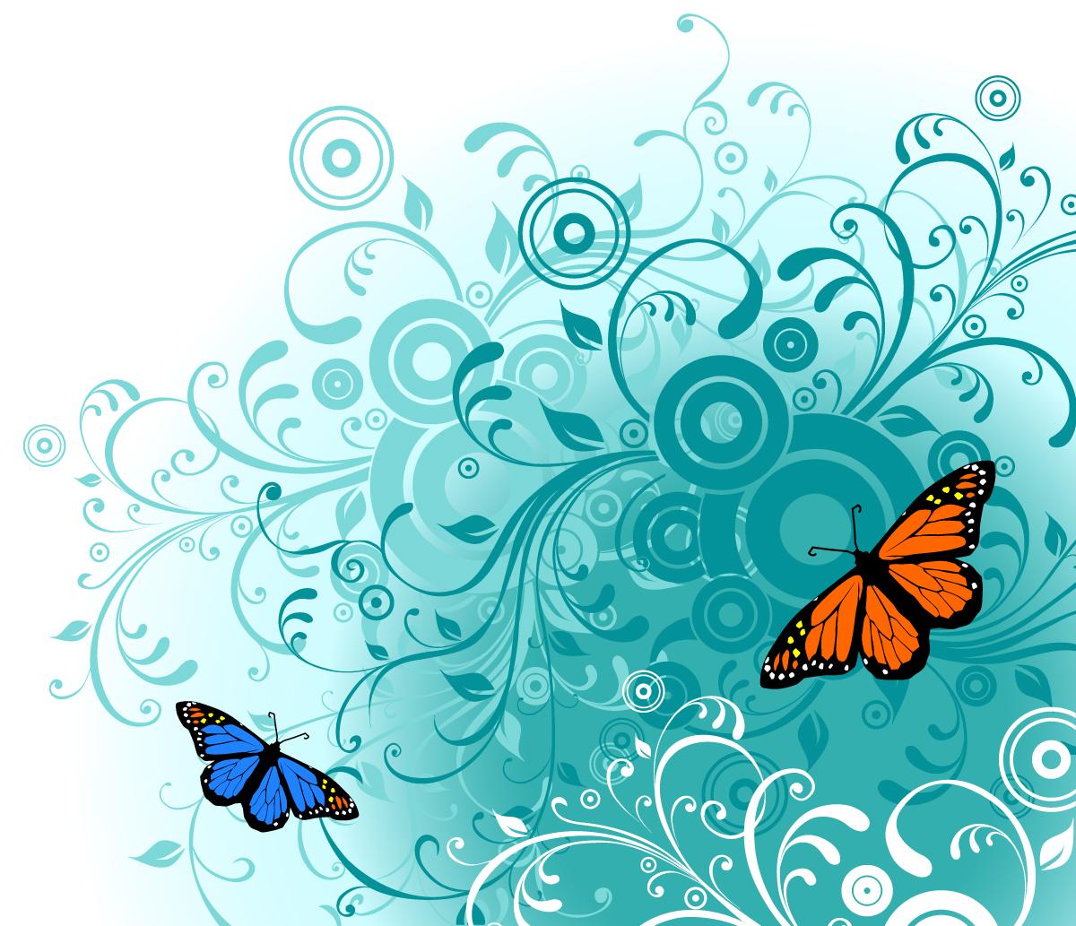 Векторные картинки цветы и бабочки, другу ютубе