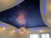 Светодиодная подсветка (LED) по периметру многоуровневого потолка с фотопечатью рис. 24 из каталога Космос