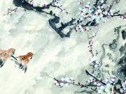 Пара воробьев, летящие к ветке цветущей сакуры, изображение 4